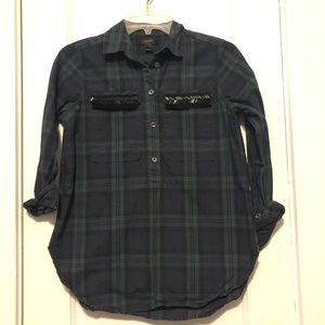 J.Crew plaid button down with beads on the pockets